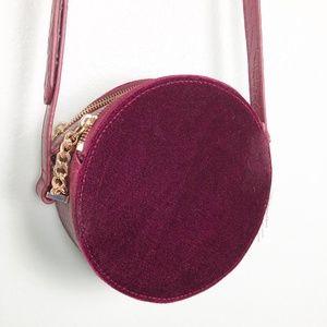 FREE PEOPLE burgundy crossbody BAG velvet NWOT